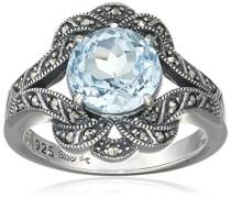 Ring 925 Silber vintage-oxidized Topas blau Markasit 50 (15.9) - L0041R/90/W4/50