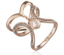 women Ring 925 Silber rose vergoldet Rosenquarz rosa Topas weiß 56 (17.8)