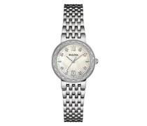 Diamond 96W203 - Designer-Armbanduhr - Edelstahl - Perlmutt-Zifferblatt