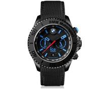 - BMW Motorsport (steel) Black - Schwarze Herrenuhr mit Lederarmband - Chrono - 001123 (Extra Large)