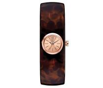 Carvelle New York Rose Gold Quarzuhr mit Rose Gold Zifferblatt Analog-Anzeige und braunem Armreif 44L139