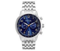 Chronograph Quarz Uhr mit Edelstahl Armband P10017
