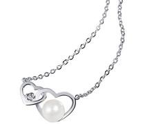 Herz-Halskette Herz Süßwasserzuchtperle 375 Weißgold Herzanhänger Perlenkette
