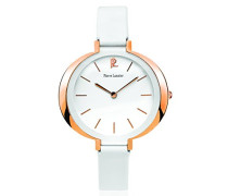 035q900 – Week End Linie Pure Armbanduhr – Quarz Analog – Weißes Ziffernblatt – Armband Leder Weiß