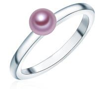 Ring 925 Silber rhodiniert Perle Süßwasser-Zuchtperle Lavendel