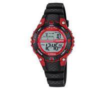 Armbanduhr Digitaluhr mit LCD Zifferblatt Digital Display und schwarz Kunststoff Gurt k5684/6