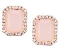 Ohrringe 375 Roségold Opale Diamant 9 karat rosa Smaragdschliff