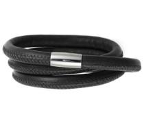 Armband Edelstahl Magentverschluss Leder 54 cm Schwarz 12101-54