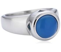 Mike Ellis Damen-Ring Glaskristall Edelstahl blau