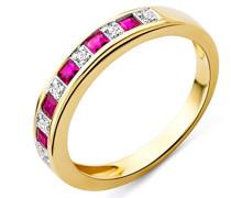 Ring Rubin und Brillanten 9 Karat 375 Gelbgold