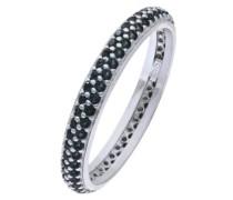 Ring Rhodiniert Silber Cubic Zirkonia Glaskristall Zweireihig schwarz