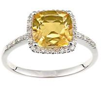 Ring 9 K 375 Weißgold Halbmondschliff gelb Citrine Diamant