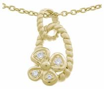 Halskette Silber vergoldet Zirkonia weiß ZH-6020/2