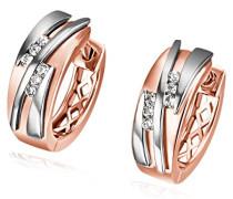 Creolen Bicolor 375 mattiert Diamant (0.09 ct) weiß Brillantschliff-Fo O7395RW Ohrringe Schmuck