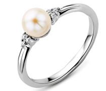 Ring Weißgold 9 Karat/375 Gold Süßwasserperle mit Diamant Brillianten