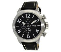 – j66603 – 267 – New York – Armbanduhr – Quarz Chronograph – Schwarzes Ziffernblatt – Armband Leder Schwarz