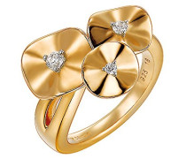 Ring 925 Sterling Silber rhodiniert Glas Zirkonia Lotus weiß