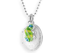 Medaillon MyName zum aufklappen Silber eismatt mit lackiertem Chameleoneinhänger ohne Gravur LD MY 353 12