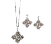 Set: Halskette + Ohrringe 925 Sterling Silber Zirkonia mehrfarbig SET-5225
