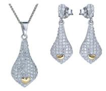Set: Halskette + Ohrringe 925 Sterling Silber Zirkonia wei SET-5220