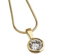 Celesta Kette mit Anhänger Sterling Silver 925 Silber teilvergoldet Zirkonia Rundschliff weiß 47 cm - 500244691-1