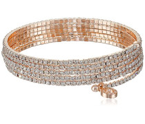 Rose Gold Ton Multi Zeile Kristalle Flex Armband von 12 cm
