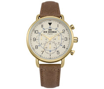 Multi Zifferblatt Quarz Uhr mit Leder Armband WB068WT