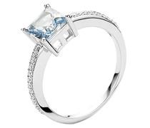 Ring 925 Silber rhodiniert Zirkonia blau Brillantschliff
