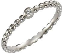 Ring 925 Sterling Silber rhodiniert Diamant 0.005 ct weiß Brillantschliff