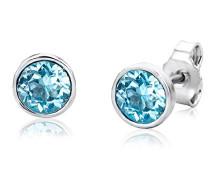 Ohrstecker – Elegante Ohrringe aus 925 Sterling Silber mit traumhaftem Swarovski-Element in Blau – Damenschmuck modern Ø 6