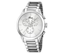 Quarz-Armbanduhr mit Silber Zifferblatt Chronograph-Anzeige und Silber Edelstahl Armband 18114/1
