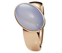 Ring Edelstahl teilvergoldet Chalcedon blau