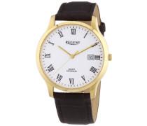 Herren-Armbanduhr XL Analog Quarz Leder 11100234