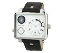 Metropolitain Kingsize Collection Quarz Armbanduhr mit zwei Zeitzonen und eckigem Gehäuse - Analoge Anzeige - Kompass - Lederarmband Gehäuse aus Edelstahl Größe XL - OZG1151