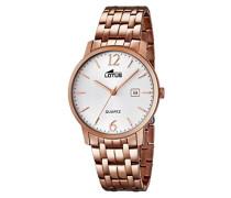 Quarz-Uhr mit weißem Zifferblatt Analog-Anzeige und Edelstahl Rose vergoldet Armband 18178/1
