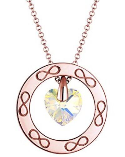 Premium Kette mit Anhänger Herz Infinity 925 Silber gelb Facettenschliff 60 cm 0101382417_60