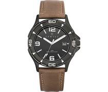 Herren Analog Quarz Uhr mit Leder Armband 611068