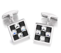 Sterling Silber Schwarz/weiße Kristall Schachbrett Viereckige Manschettenknöpfe