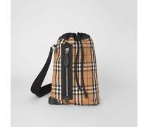 Kleine Duffle-Tasche aus Vintage Check-Canvas