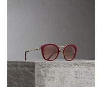 Sonnenbrille mit rundem Gestell und Karodetail