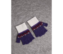 Fingerlose Handschuhe aus Kaschmir und Wolle im Fair Isle-Design