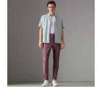 Kurzärmeliges Baumwollhemd mit Streifenmuster