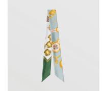 Schmaler Seidenschal mit Vintage-Aufdruck