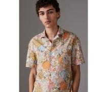 Kurzärmeliges Baumwollhemd mit floralem Muster