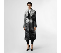Zweireihiger Mantel aus Jacquard-gewebter Wolle