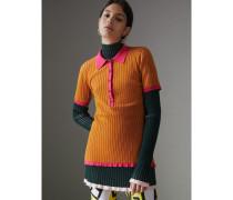 Ein Poloshirt aus Kaschmir und Seide in Zweitonoptik