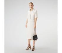 Hemdkleid aus Seide und Wolle mit Schlitzdetails