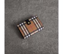 Faltbrieftasche aus Leder mit Vintage Check-Muster