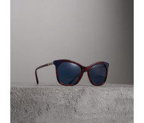 Eckige Sonnenbrille in marmorierter Optik