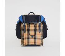 Lederrucksack im Vintage Check- und Colour-Blocking-Design